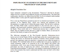 "POPE FRANCIS' STATEMENT IN THE DOCUMENTARY""FRANCESCO"" EXPLAINED"