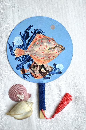 Plaice - Hand Fan with Haiku