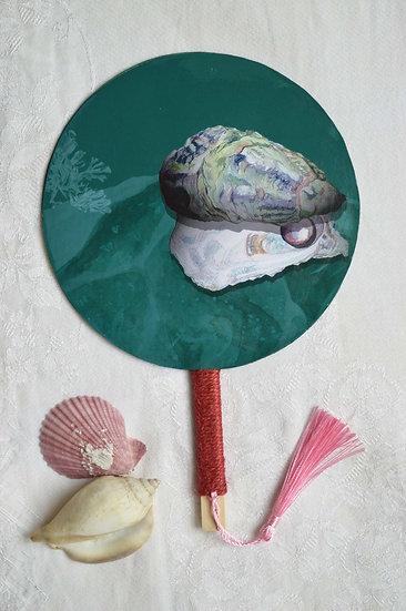 Pearl - Hand Fan with Haiku