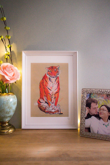 Tiger and Rabbit on Brown Background - A4 Print
