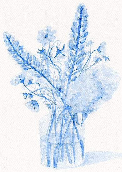 Blue Still Life A4 Print