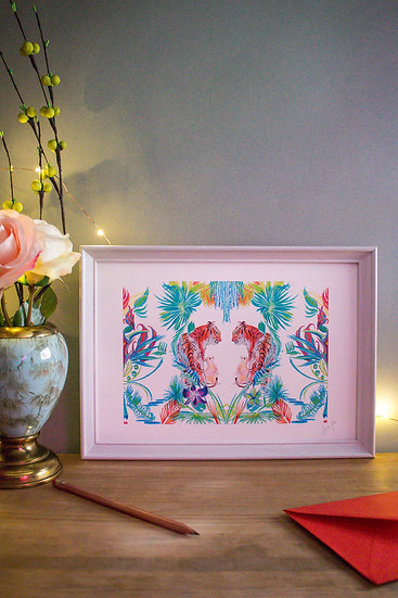 Tiger and Rabbit in Tropical Heart - A4 Print