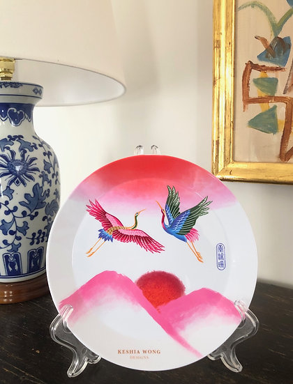 Flying Cranes Plate (with stand)