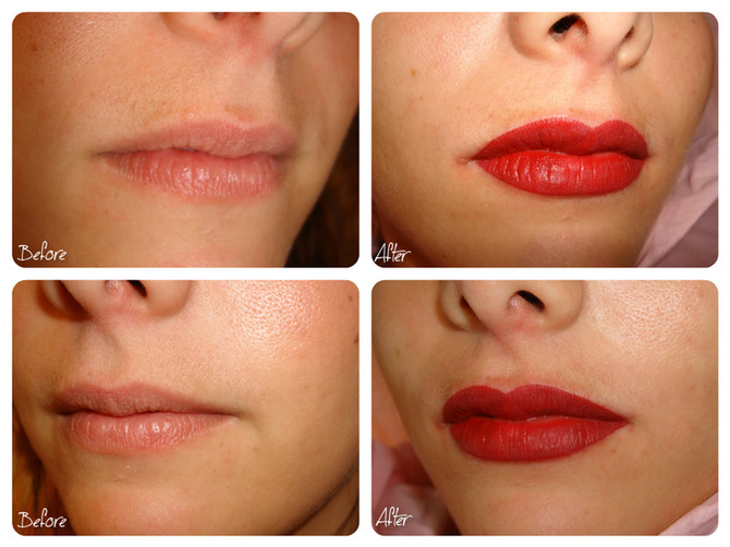 Semi Permanent Lips Tattoo Makeup Before - After