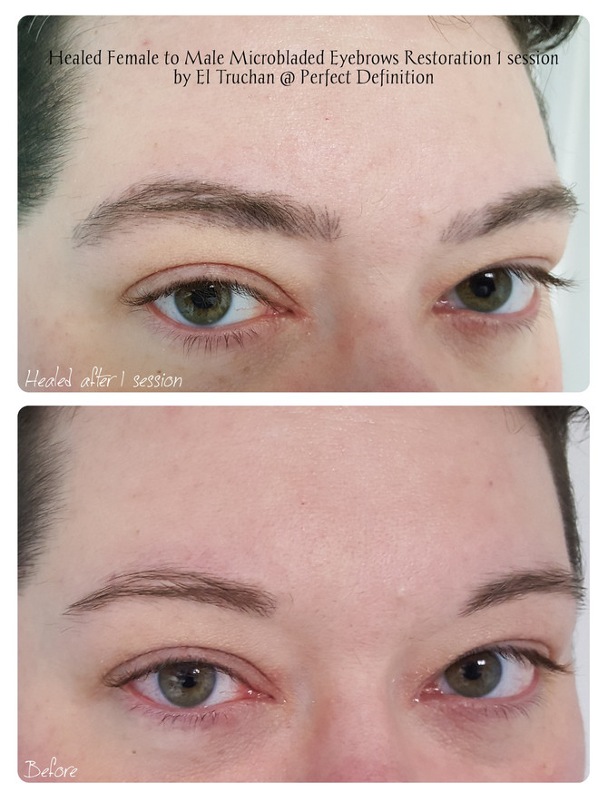 Healed Female to Male Microbladed Eyebrows Restoration by El Truchan @ Perfect Definition