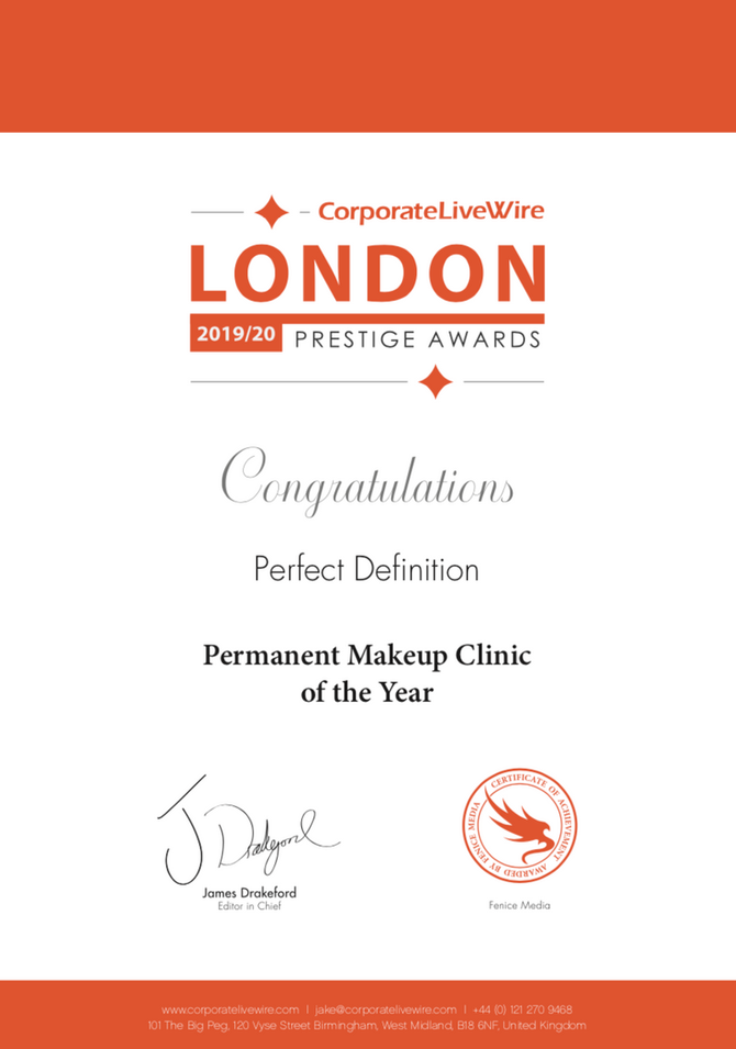 Perfect Definition just won Permanent Makeup Clinic of the year 2019 from the London Prestige Awards