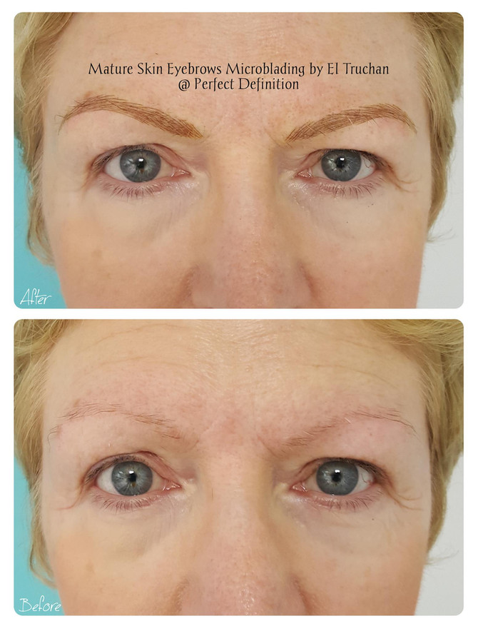 Warm Blonde Mature Skin Eyebrows Microblading by El Truchan @ Perfect Definition