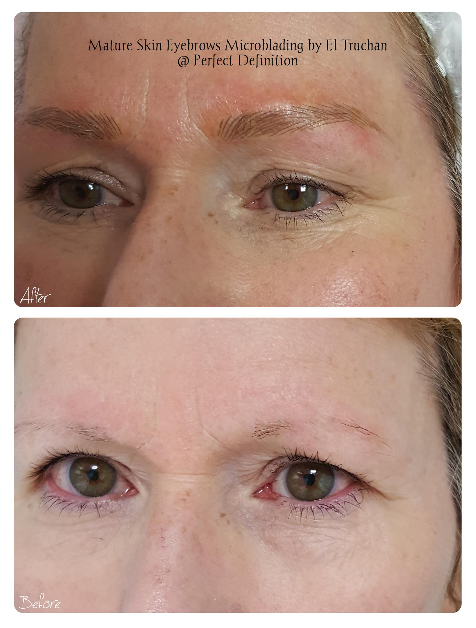Mature Blonde Eyebrows Microblading