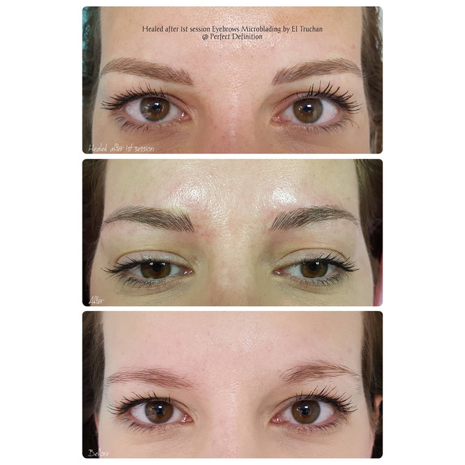 Healed after 1st session Eyebrows Microblading by El Truchan @ Perfect Definition