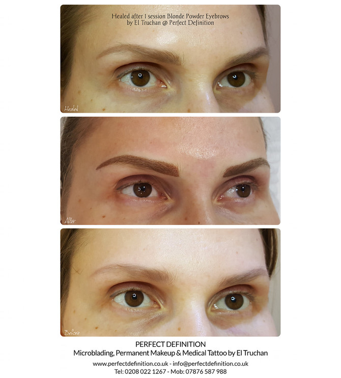 Healed after 1 session Blonde Powder Eyebrows by El Truchan @ Perfect Definition