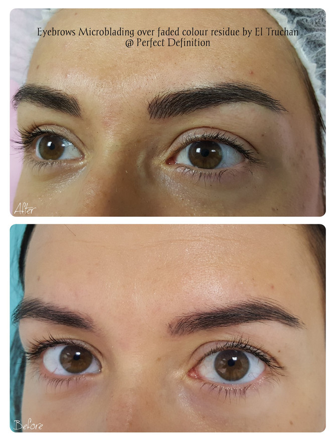 Eyebrows Microblading over faded colour residue by El Truchan @ Perfect Definition