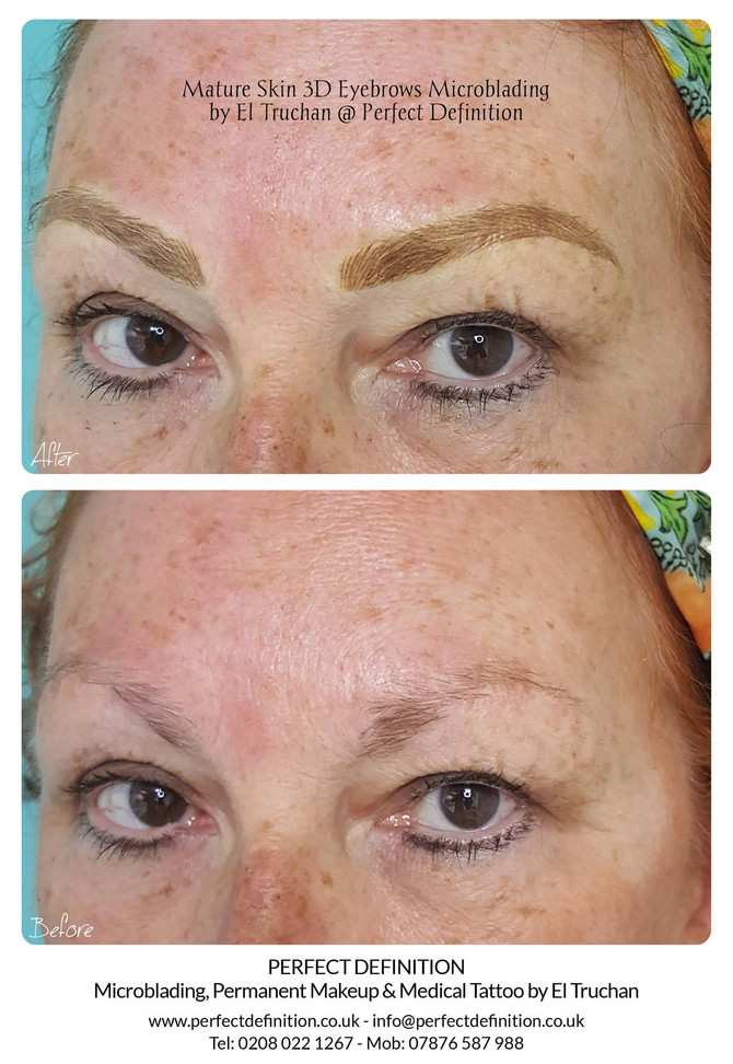 Mature Skin 3D Eyebrows Microblading by El Truchan @ Perfect Definition
