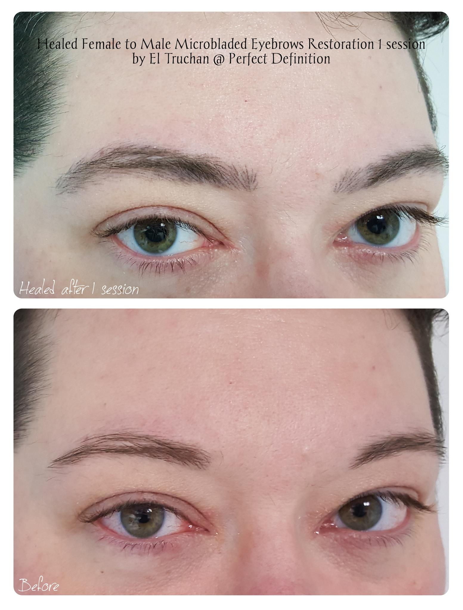 Headed Female to Male Microbladed Eyebro