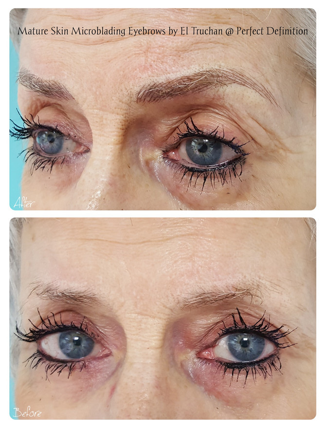 Mature Skin Microblading Eyebrows by El Truchan @ Perfect Definition