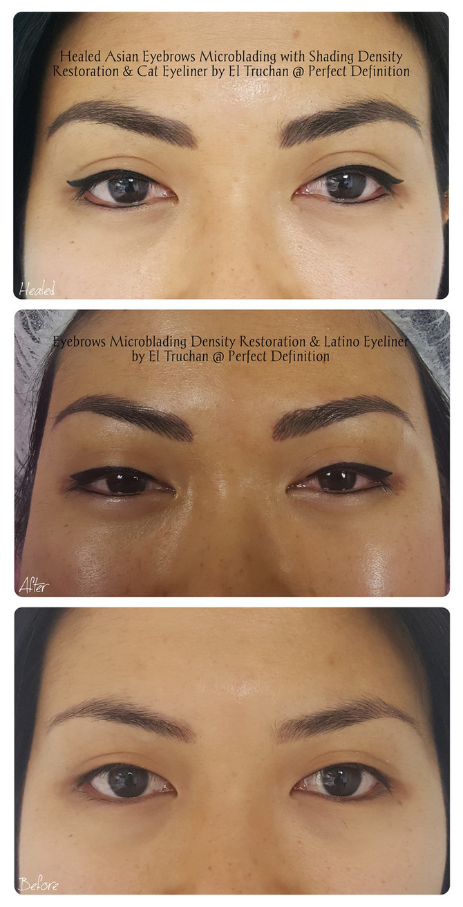 Healed Eyebrows Microblading with Shading Density Restoration & Cat Eyeliner by El Truchan @ Perfect