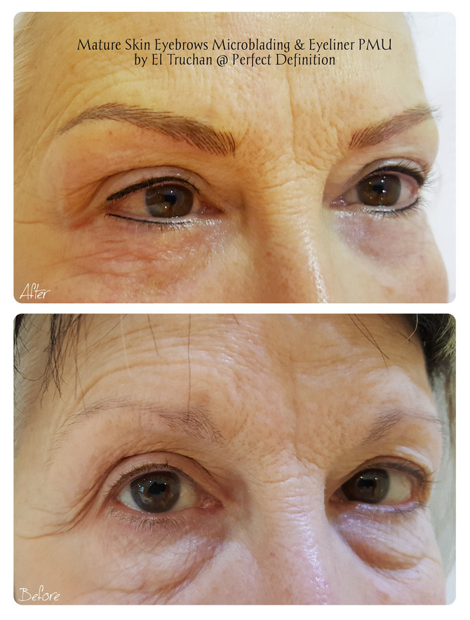 Mature Skin Eyebrows Microblading & Eyeliner PMU by El Truchan @ Perfect Definition