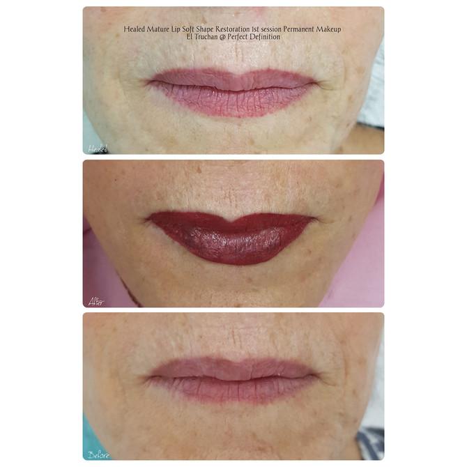 Healed Mature Lip Soft Shape Restoration 1st session Permanent Makeup by El Truchan @ Perfect Defini