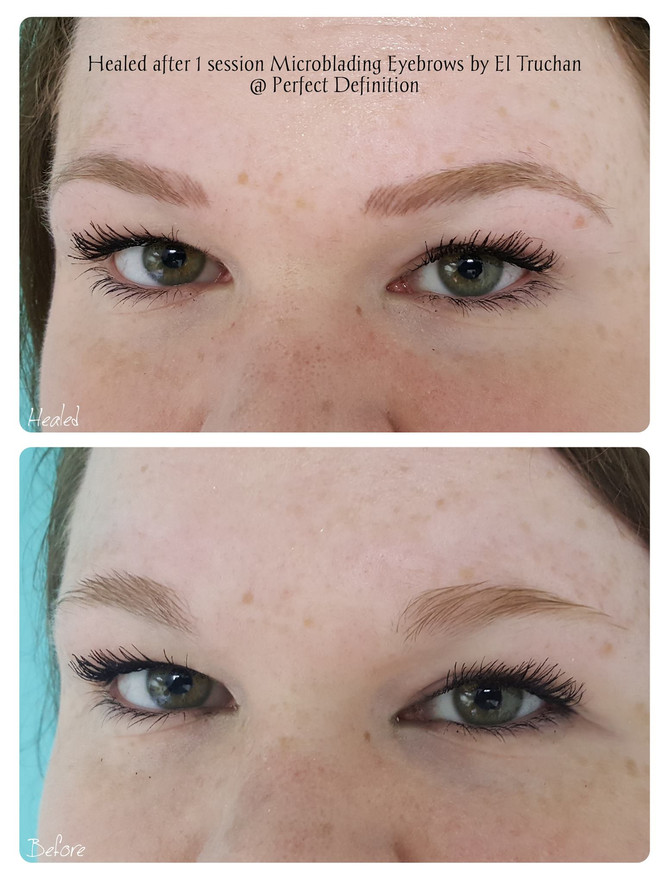 Healed after 1st session Microblading Eyebrows by El Truchan @ Perfect Definition