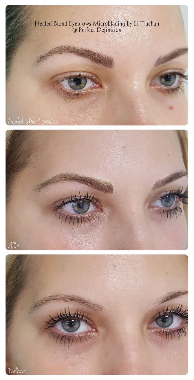 Healed Blonde Eyebrows Microblading by El Truchan @ Perfect Definition