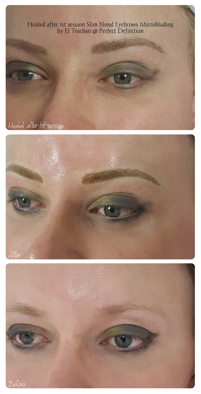 Healed after 1st session Slim Blonde Eyebrows Microblading by El Truchan @ Perfect Definition