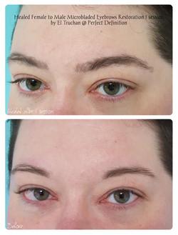 Healed Female to Male Microbladed Eyebro