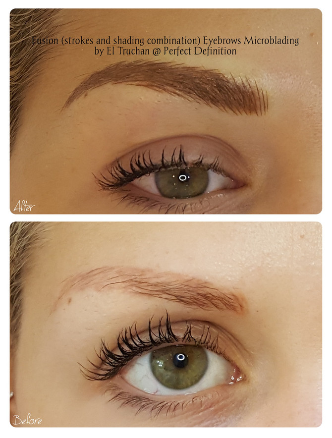 Fusion (strokes and shading combination) Eyebrows Microblading by El Truchan @ Perfect Definition
