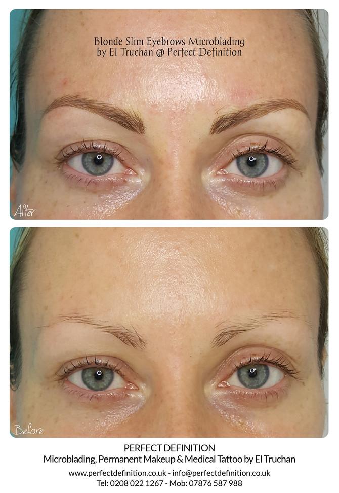 Blonde Slim Eyebrows Microblading by El Truchan @ Perfect Definition
