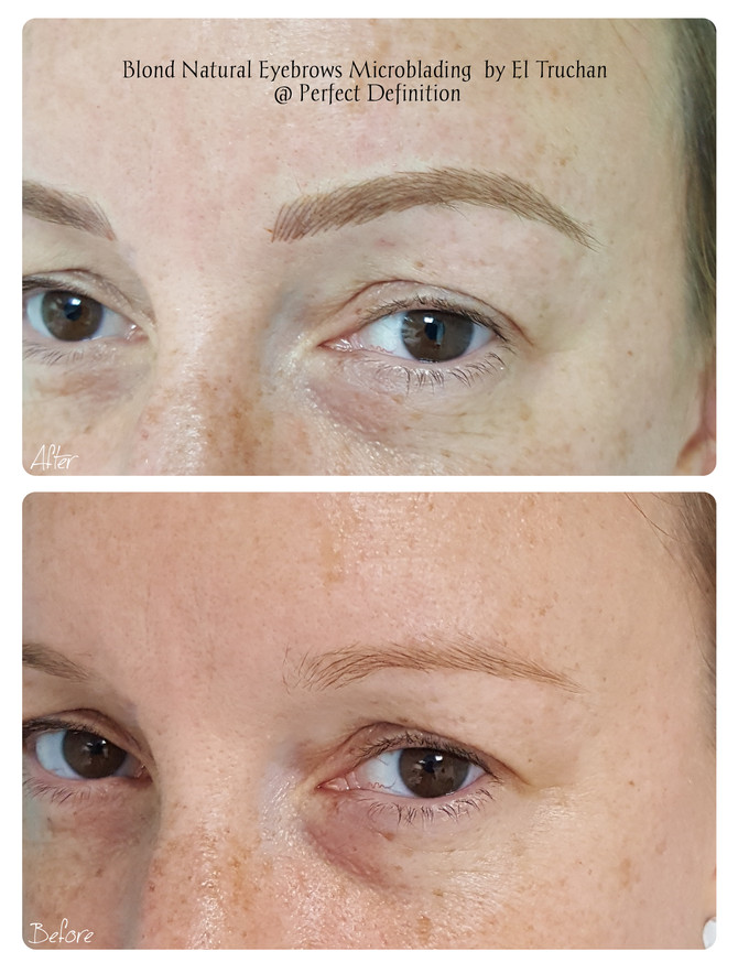 Blonde natural looking eyebrows microblading by El Truchan @ Perfect Definition