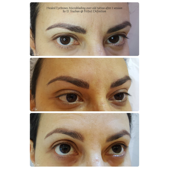 Healed Eyebrows Microblading over old tattoo after 1 session by El Truchan @ Perfect Definition