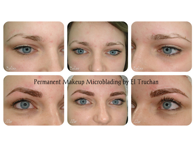 Microblading - Permanent Make up Eyebrows Reconstruction Before - After