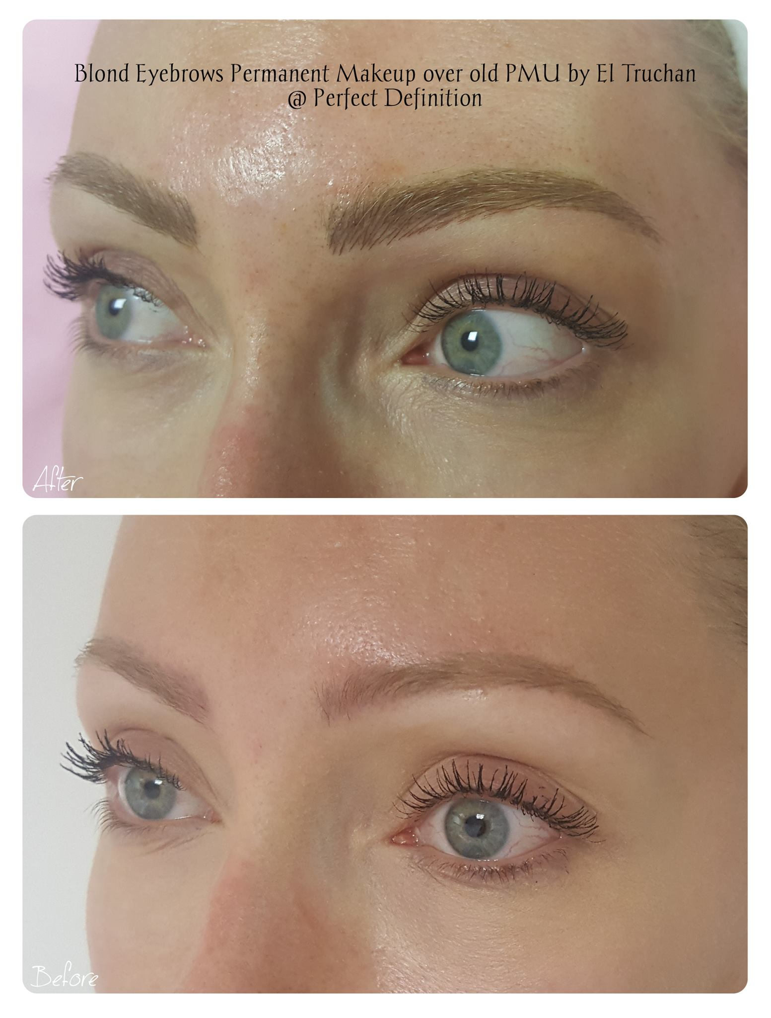 Blonde Eyebrows Permanent Makeup over old PMU
