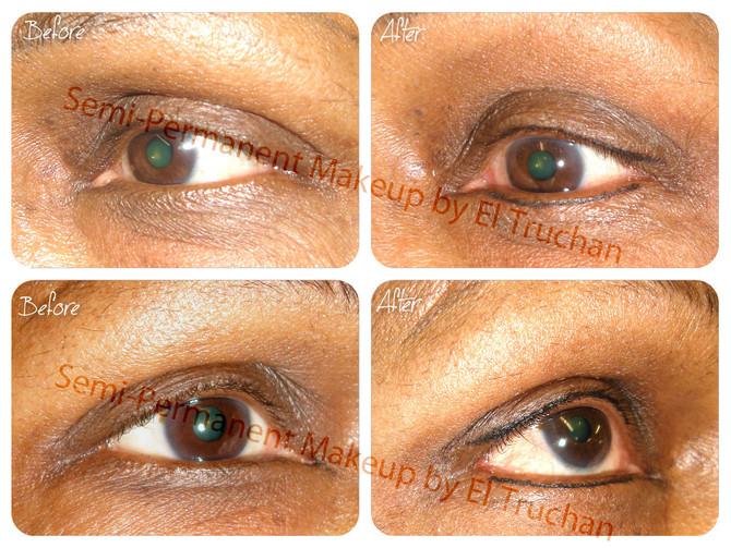 BEFORE & AFTER - Baby Eyeliner on a Dark Skin