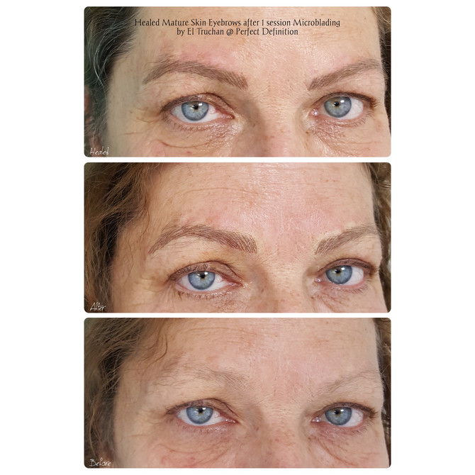 Healed Mature Skin Eyebrows after 1 session Microblading by El Truchan @ Perfect Definition