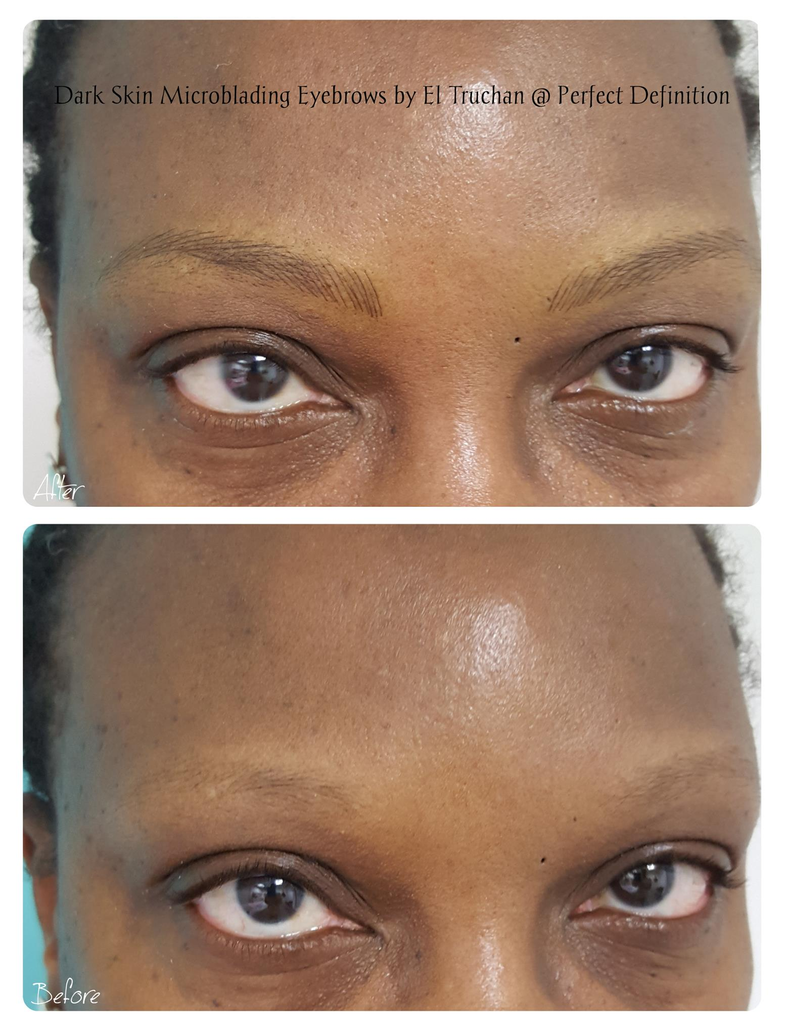 Dark Skin Microblading Eyebrows by El Tr