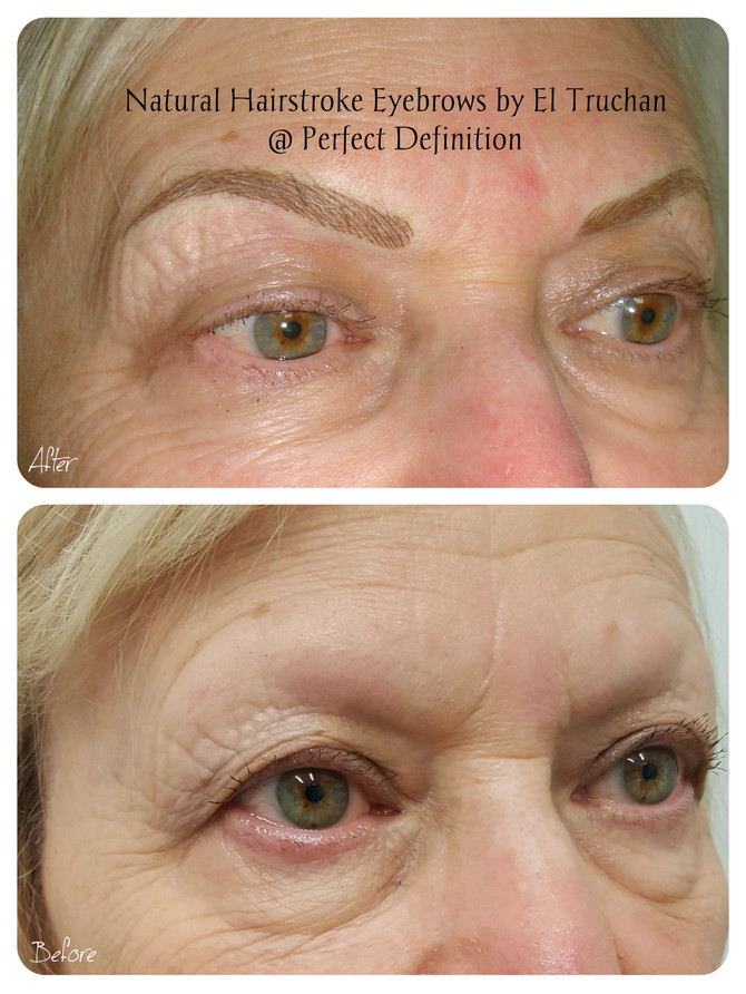 Natural Hairstroke Eyebrows by El Truchan for Mature skin: Before - After