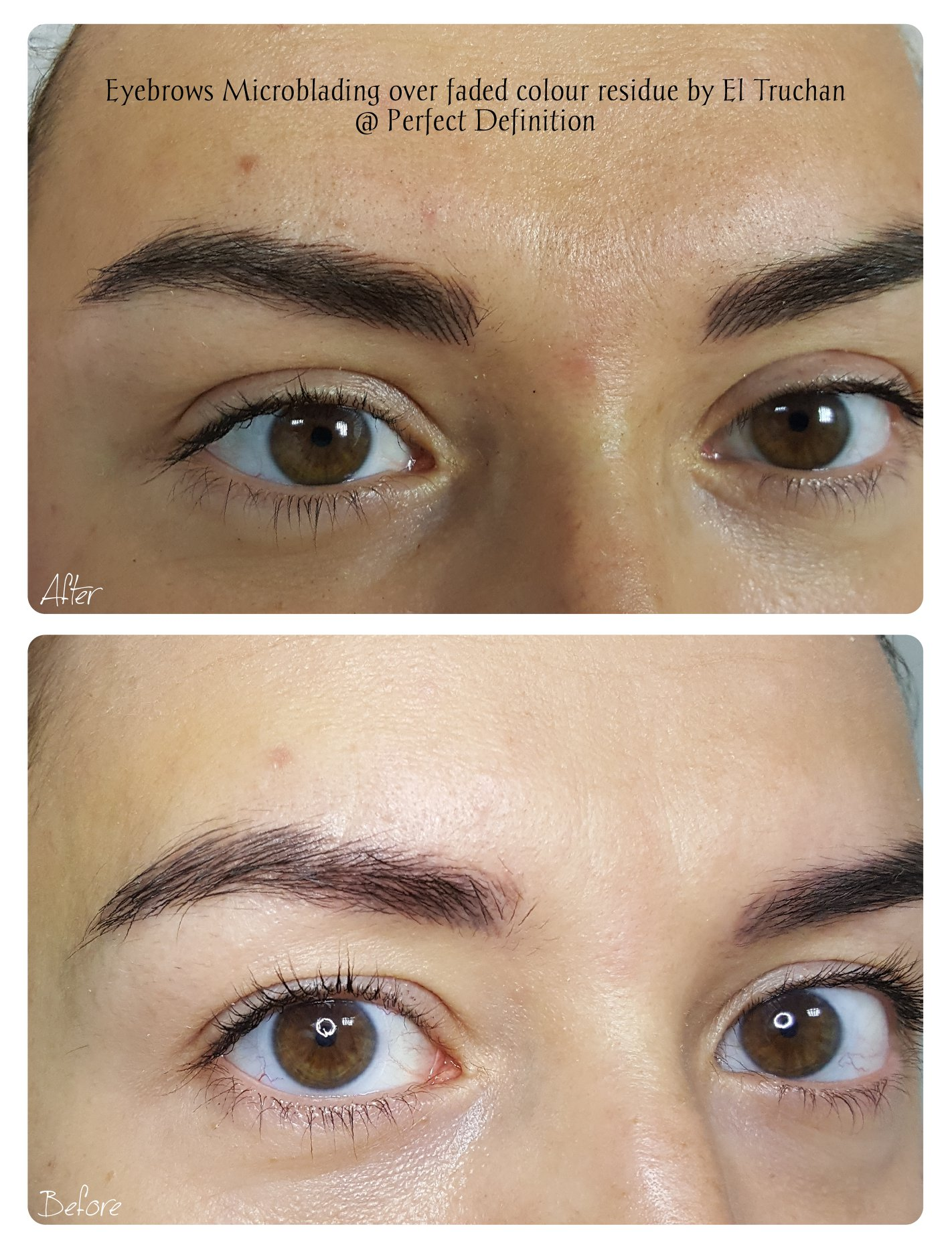 Eyebrows Microblading over faded colour