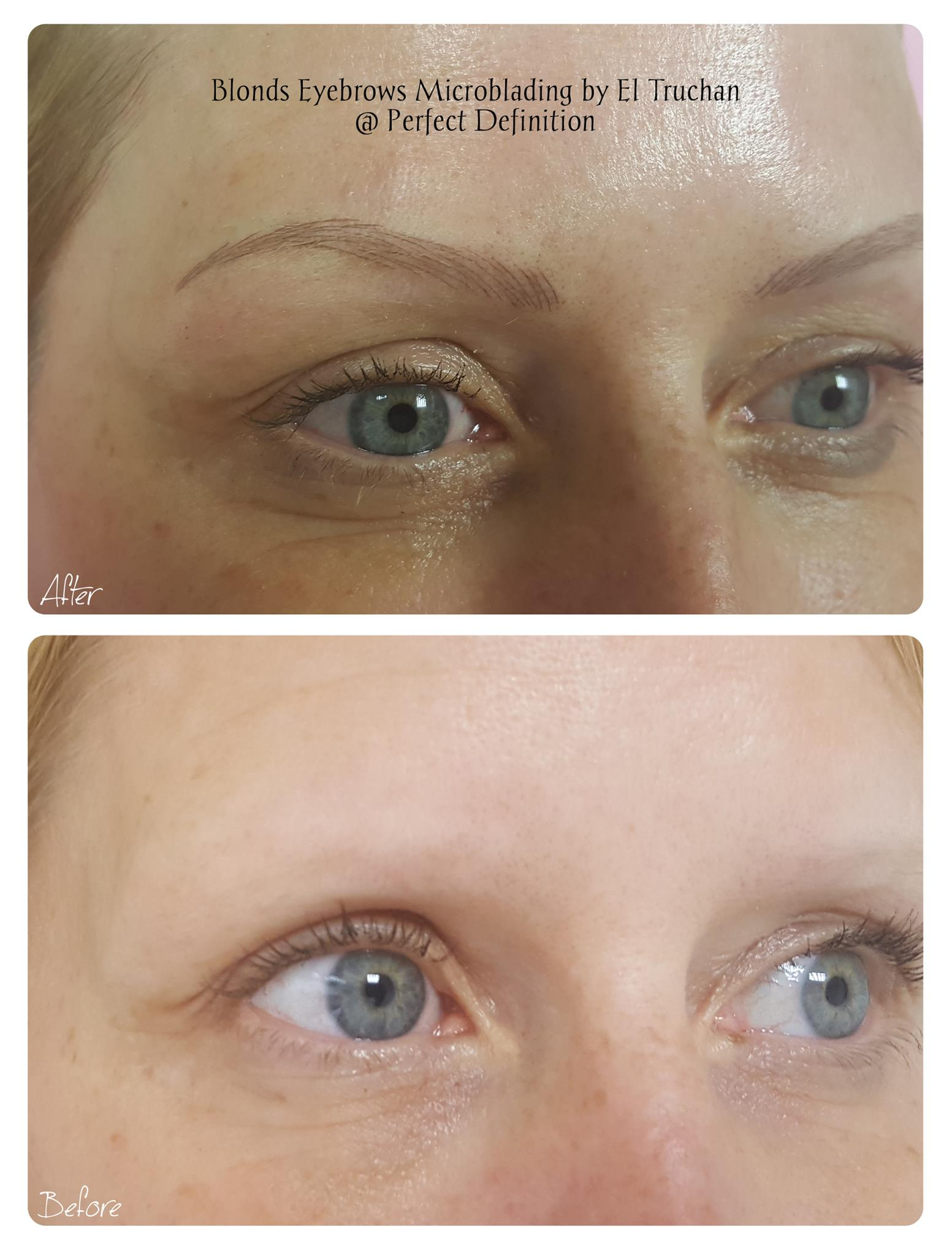 Slim eyebrows microblading