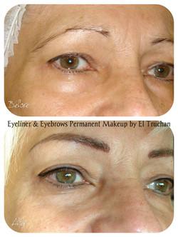 Eyebrows & Eyeliner semi permanent makeup by El Truchan CPCP....