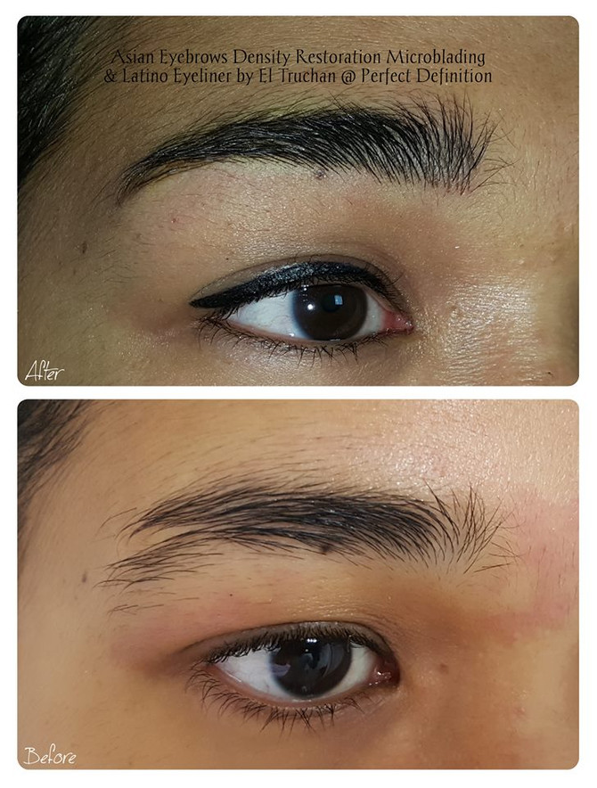 Asian Eyebrows Microblading Density Fill + Latino Eyeliner Permanent Makeup by El Truchan @ Perfect