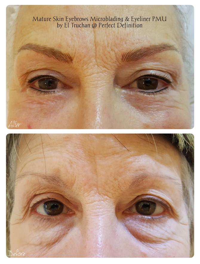 Mature Skin Eyebrows Microblading & Eyeliner PMU by El Truchan @ Perfect Definition