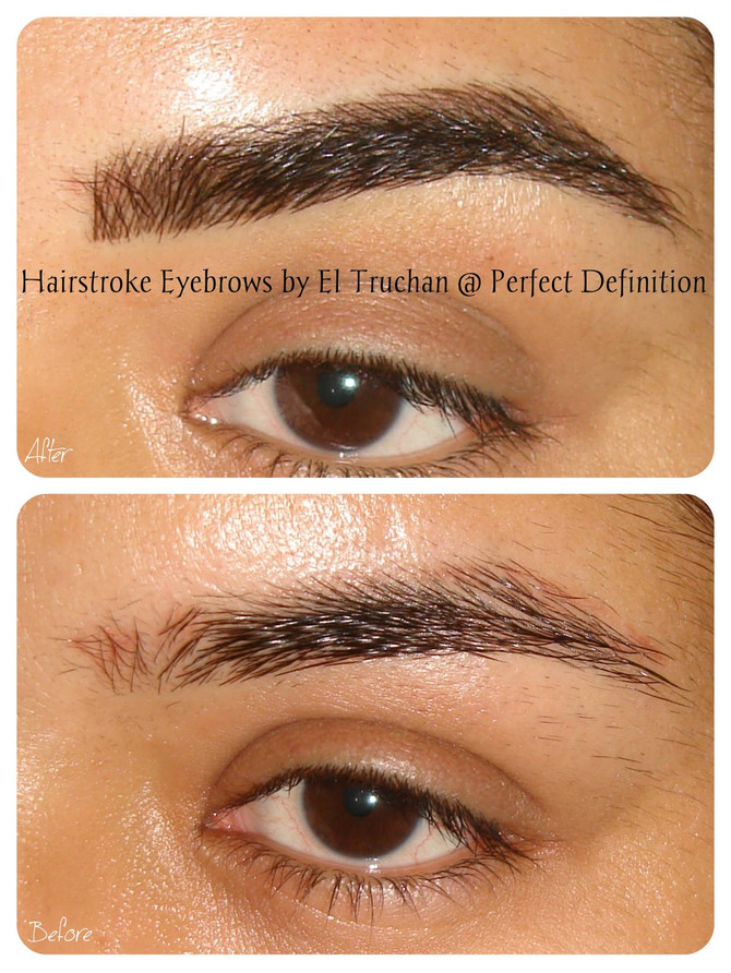 Full Eyebrows Hairstroke style by El Truchan on dark skin @ Perfect Definition