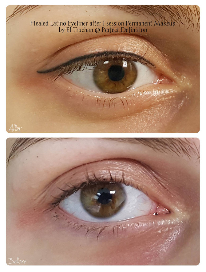 Healed Latino Eyeliner after 1 session Permanent Makeup by El Truchan @ Perfect Definition