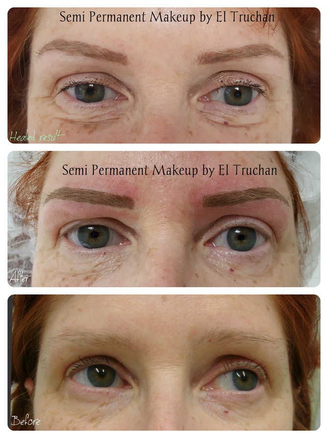 Before - After - Healed Eyebrows Permanent Makeup by El Truchan