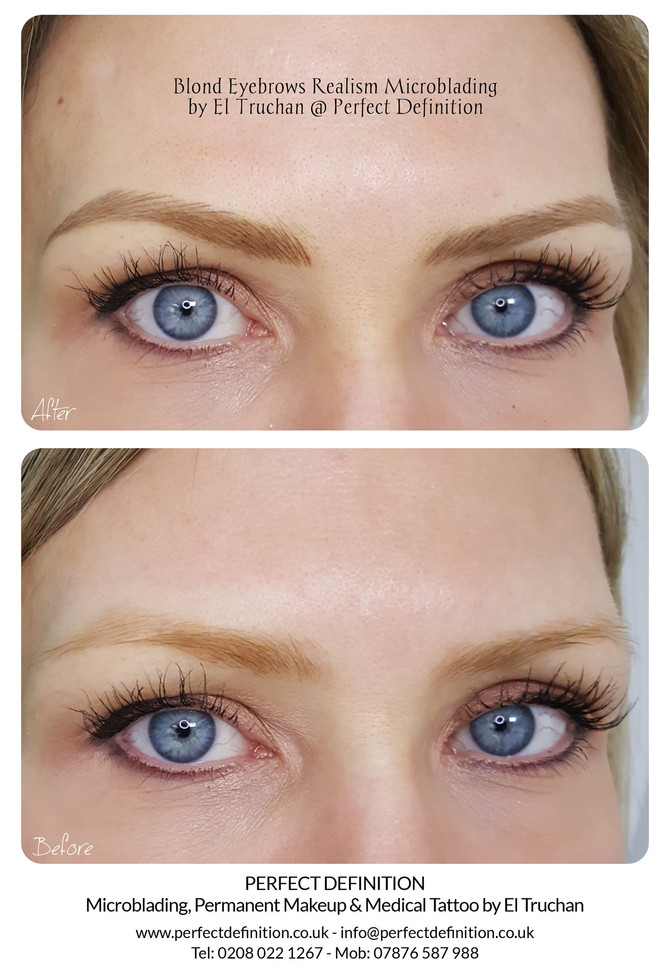 Blonde Eyebrows Realism Microblading by El Truchan @ Perfect Definition