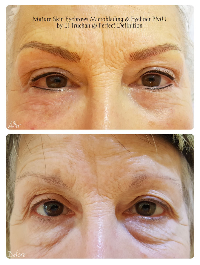 Mature skin Microblading Eyebrows + Eyeliner Cosmetic Tattoo by El Truchan @ Perfect Definition