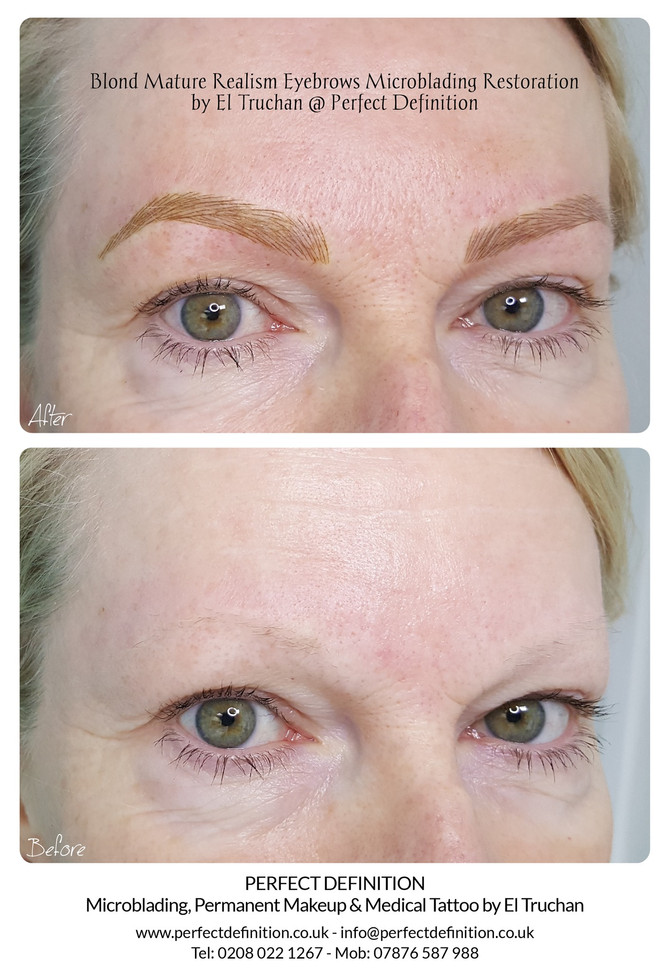 Blonde Mature Realism Eyebrows Microblading Restoration by El Truchan @ Perfect Definition