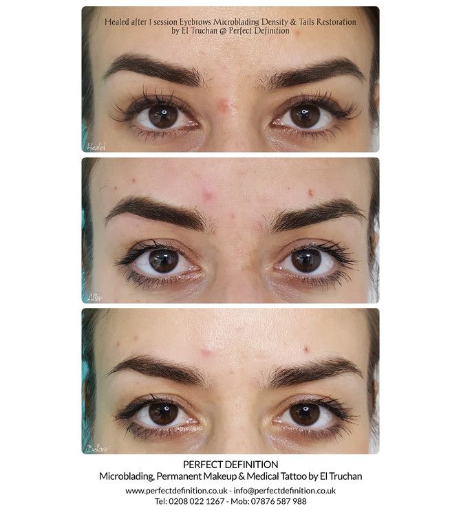 Healed Eyebrows Microblading Density & Tails Restoration by El Truchan @ Perfect Definition