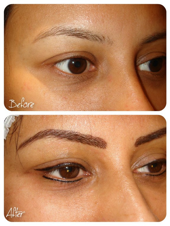 Hairstroke Eyebrows & Latino Eyeliner Before - After