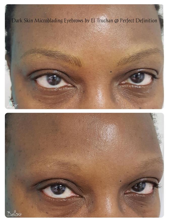 Dark Skin Microblading Eyebrows by El Truchan @ Perfect Definition