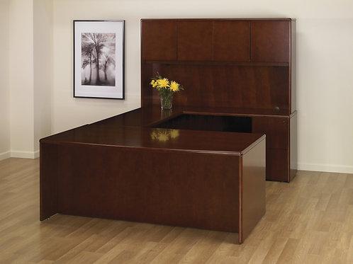 Dark Cherry U Shape Desk with Hutch